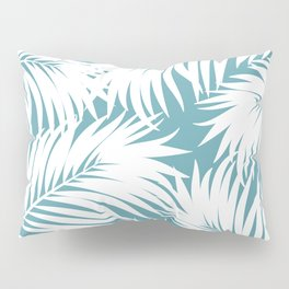 Palm Tree Fronds White on Soft Blue Hawaii Tropical Décor Pillow Sham