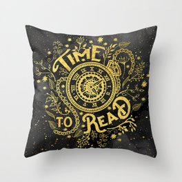 Time to Read - Gold Throw Pillow