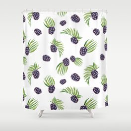Hand painted black green watercolor fruity blackberries Shower Curtain