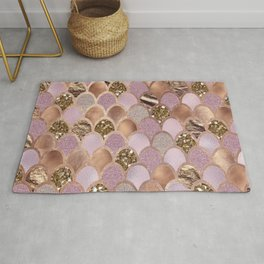 Magenta mermaid scales - turkish delight rose gold Rug