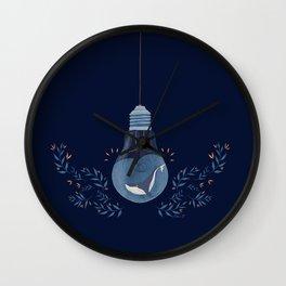 Lighten whale navy Wall Clock