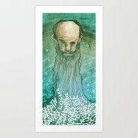 beard Art Prints featuring Beard by Lee Grace Design and Illustration