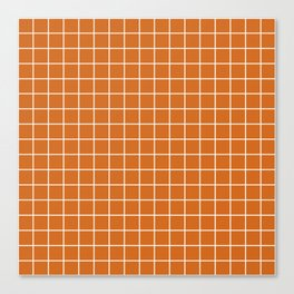 Chocolate (web) - brown color - White Lines Grid Pattern Canvas Print