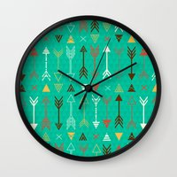 arrows Wall Clocks featuring Arrows by Claire Lordon