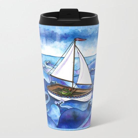 Froggy Goes Sailing Metal Travel Mug