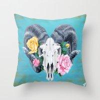 ram Throw Pillows featuring Ram  by Sarah K. Fowler