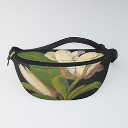 Magnolia Tripetala Mary Delany Delicate Paper Flower Collage Black Background Floral Botanical Fanny Pack