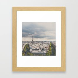 the Eiffel Tower in Paris on a stormy day. Framed Art Print