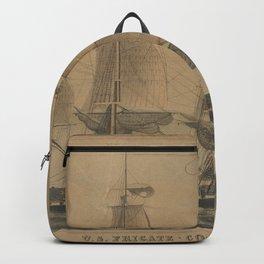 Vintage USS Constitution Ship Illustration (1846) Backpack