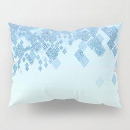 Light Aqua Blue Gradient Faux Glitter Diamonds Pillow Sham