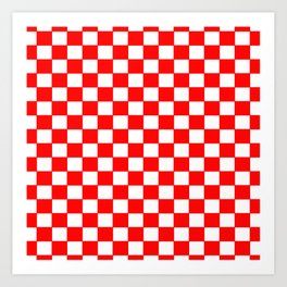Checkers - Red and White Art Print