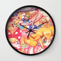 mario kart Wall Clocks featuring Mario kart - Sweet Sweet canyon by SweetOwls