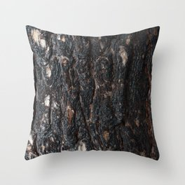 Pine bark after fire. Throw Pillow