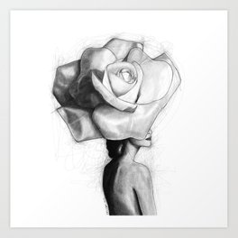The woman with the head of a rose - Christy Turlington Art Print