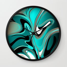 Liquify 2 - Brown, Turquoise, Teal, Black, White Wall Clock