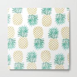Gold Pineapples Metal Print