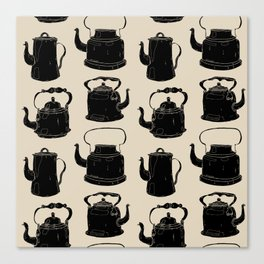 Hand drawn vintage teapots Canvas Print