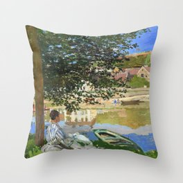Claude Monet Seine at Bennecourt Throw Pillow