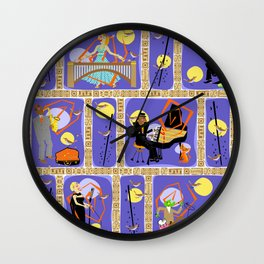 Cool Cats in Birdland Wall Clock