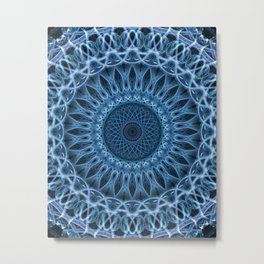 Cold blue mandala Metal Print