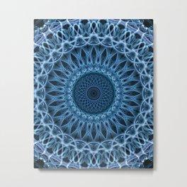 Cold blue mandala Metal Print