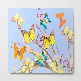 Playing butterflies on a summer day - lovely blue sky background - cheerful and happy #decor #societ Metal Print