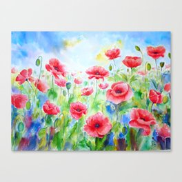 Watercolor red poppy field Canvas Print