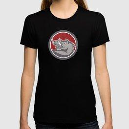 Razorback Head Looking Up Circle T-shirt