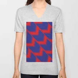 Red and blue diagonal pattern Unisex V-Neck