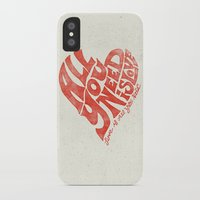 all you need is love iPhone & iPod Cases featuring Love is all you need by Kris Petrat Design