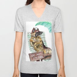 Lounge in the Sun, funny German shepherd dog GSD watercolor painting Unisex V-Neck