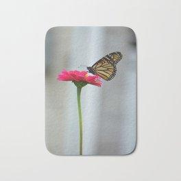 Butterfly on Pink Zinnia Flower Bath Mat