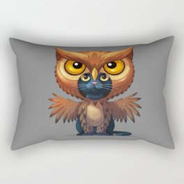 Fantasy Cat Fantasy Animals Artistic Owl Rectangular Pillow