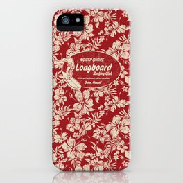 Club Surfing Longboard Surf Logo and Hibiscus Hawaiian Print      iPhone Case