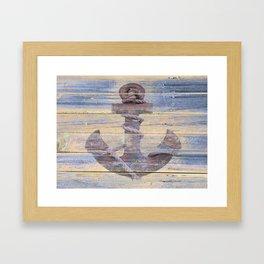 Rusty Anchor Grey Blue Beach Lake House Coastal Home Decor A177 Framed Art Print