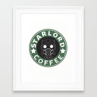 starlord Framed Art Prints featuring Starlord coffee by withoutwax94