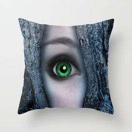 Big green eye in a blue tree Throw Pillow