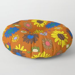 Funky Fall Harvest Floral in Terracotta Rust Floor Pillow