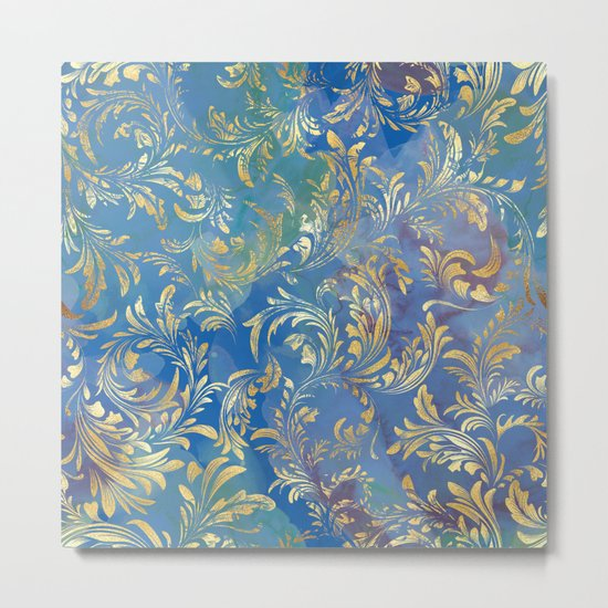 Blue Gold Swirls #2 Metal Print