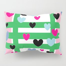 Hearts and Stripes - Pink Green Blue Pillow Sham