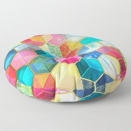 Crystal Bohemian Honeycomb Cubes - colorful hexagon pattern Floor Pillow