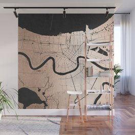 New Orleans Rose Gold and Black Map Wall Mural