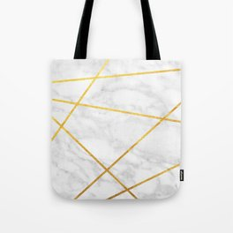 White Carrara marble with Gold Lines Tote Bag
