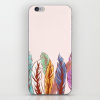feathers iPhone & iPod Skins featuring Feathers by melcsee