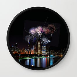 Chicago night skyline Wall Clock