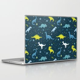 Space Dinosaurs in Bright Green and Blue Laptop & iPad Skin