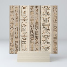 Egyptian hieroglyphs Pastel Gold Mini Art Print