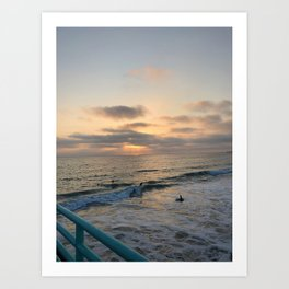 Sunset Swim Art Print