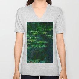 Claude Monet Impressionist Landscape Oil Painting Waterlilies Unisex V-Neck