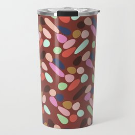 Dancing Shapes Pattern Multicolored Red Travel Mug